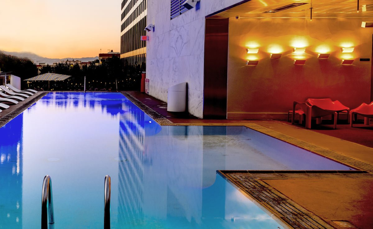 beautiful pool deck at sunset