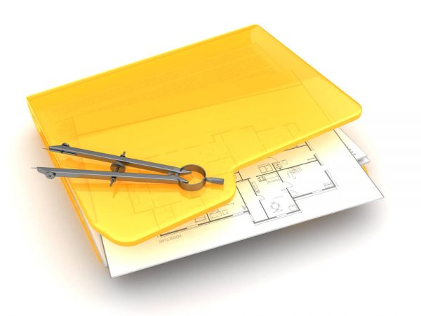 yellow folder with blueprints